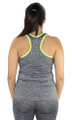 Gray Racer Back Sports Top Neon Yellow Trim (31-19)
