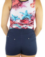 Navy Cotton Workout Short Elastic Waist (31-23)