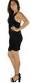 Sexy Sleeveless Dress w/Bead Chain Accent Black (33-8)