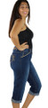 Capri Jeans w/Embroidery Design Pockets (33-13)
