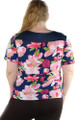Plus Size Floral Print Navy/Pink Top (33-21)