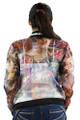 Long Sleeve Sheer British Graphic Print Jacket (37-9)