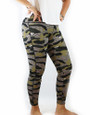 Green Cheetah Print Yoga Sport Plus Size Leggings (37-12)