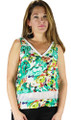 Sequin Accent Lime Green Floral  Sleeveless Top (34-4)