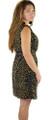 Sleeveless Olivine & Navy Button Self Tie Dress (34-6)