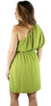 One Shoulder Lime Green Chiffon Dress (34-10)