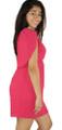 One Shoulder Raspberry Chiffon Dress (34-11)
