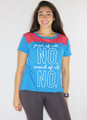 "100% Cotton Tee ""first of all NO"" Blue w/Red Mesh (35-1)"