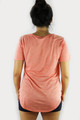 Short Sleeve Lace Up V-neck Graphic Peach Top (35-7)