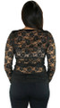Long Sleeve Floral Lace w/Sequin Black Top (35-9)