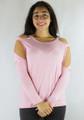 95% Rayon Long Sleeves Cold Shoulder Pink Top (35-11)