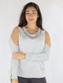 95% Rayon Long Sleeves Cold Shoulder Gray Top (35-12)
