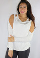 95% Rayon Long Sleeves Cold Shoulder Off White Top (35-13)