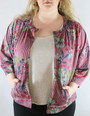 Plus Size Long Sleeve Open Front Floral Cardigan (35-19)