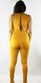 Sleeveless Plunging Neck Mustard Jumpsuit (35-21)