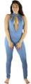 Sleeveless Plunging Neck Denim Blue Jumpsuit (35-22)