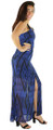Sexy Royal Blue & Black Aztec Print Cutout Maxi Dress (35-27)