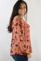 99% Rayon Off Shoulder Floral Print Rust Top (35-29)