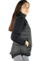 Sleeveless Black Zipper Front Quilted Vest (35-33)