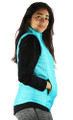 Sleeveless Aqua Zipper Front Quilted Vest (35-34)