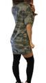 Sexy Lace Up V-Neck Camouflage Mini Dress (14-8)