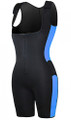 Get Your  Sweat On! Shapewear Bodysuit Black & Blue (14-11)