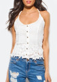 Sleeveless Strappy Halter Lace Boho Off White Top (15-1)