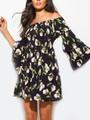 Off Shoulder Flounce Bell Sleeves Black Floral Dress  (15-3)