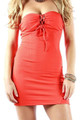 Sexy Strapless Lace Up Front and Back Bodycon Coral Dress (16-1)