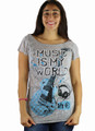 "Junior Gray Short Sleeve ""Music Is My World"" Tee (K-9)"