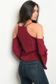 Sexy Bell Sleeves Cold Shoulder Crop Wine Blouse (38-13)
