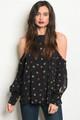 Long Sleeve Cold Shoulder Black Floral Blouse (38-15)