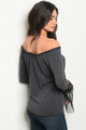 Bell Sleeves w/Lace & Floral Off Shoulder Gray Tops (38-16)