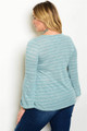 Plus Size Marble Aqua & White Bell Sleeve Top (40-6)