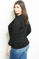Plus Size Two-in-One Tops/Cardigan Black Lace Inner Shell (40-12)
