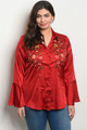 Plus Size Satin Bell Sleeve Embroidery  Red Top (40-13)
