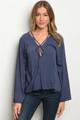 100% Cotton Bell Sleeve Strappy Detail Indigo Blue Top (40-16)