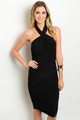 Sexy LBD Halter Ruched Sides Dress (40-22)