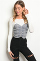 Long Sleeves Features Plaid Tie Bustier Top (41-2)