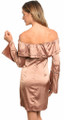Elegant Satin Bell Sleeve Off Shoulder Sexy Copper Dress (41-6)