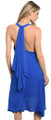 Elegant! Sleeveless Flowing Halter Royal Blue Dress (41-9)