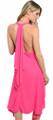 Elegant! Sexy! Sleeveless Flowing Halter Fuchsia Dress (41-10)