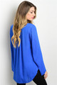 Long Sleeve Royal Blue Top w/Lace Detail (41-13)