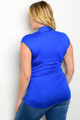 Plus Size Cap Sleeve V Neck Fitted Royal Blue Top (41-21)