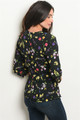 Black Floral Print V Neck 3/4 Sleeve Top (41-27)