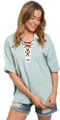 100% Cotton Sage Short Sleeve Collared Lace Up Shirt (41-30)