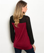 100% Rayon Soft & Comfy Black & Wine Top (41-33)