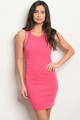 Sexy Sleeveless Scoop Neck Rhinestone Fuchsia Dress (42-1)