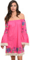 Off Shoulder Boho Embroidery Fuchsia Dress (42-4)