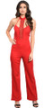 Elegant V-Neck Spaghetti Strap Red Jumpsuit w/Crochet Center (42-16)